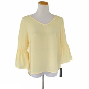 Pale Yellow Bell Sleeve Blouse Petite LARGE